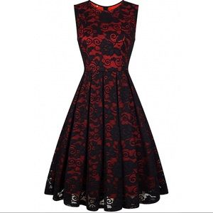 Vintage Style Red Lace Retro Holiday Dress